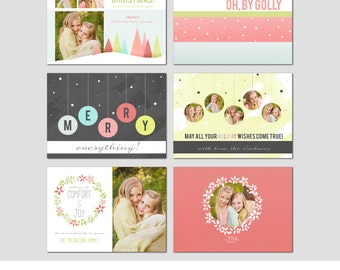 5x7 Christmas Card Template - Set of 3 Cards - Front and Back - Modern Photography Template - Holiday - Families - Children - Bright