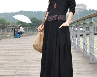 Black linen dress full length maxi dress big sweep plus size dress long sleeves with two pockets