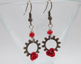Red Rose Earrings - Steampunk Gear Jewelry - Elegant Accessories by Kimreys Odd Beauty