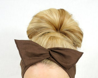 Chocolate Brown Dolly Bow Wired Headband