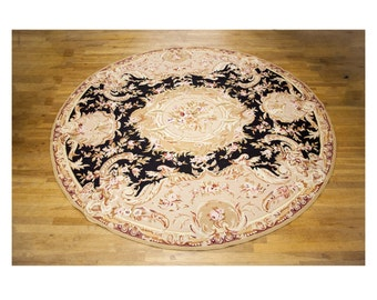 Large Beautiful Round Aubusson Chinese Wool Rug