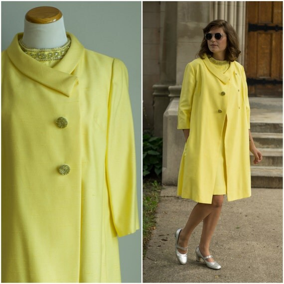 vintage 1960s dress and coat / 60s yellow silk set / 60s silk