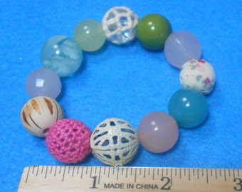 CLEARANCE Shabby Chic Eclectic Gypsy Beaded Stretch Bracelet