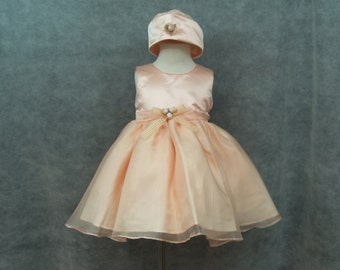 Peach dress 2T with hat - Easter dress peach 2T