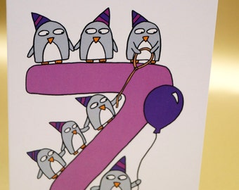 1st, 2nd, 3rd, 4th, 5th, 6th, 7th, 8th, 9th,10th,11th,12th, Birthday card - Funny penguins - Child's Birthday- Anniversary - Kid's Age card