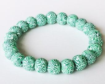 Polymer Clay Beads Bracelet, Striped Beads, Green, White, Preppy, Stretch, Millefiori