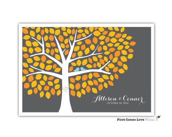 Fall Autumn Wedding Tree Guestbook Poster // Digital PDF File // Choose ANY Colors // 150 Guests Leaves //  Orange Yellow Gray // Teal Birds