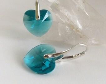 Aqua Crystal Earrings / Crystal Heart Earrings / Pinch Bail Leverback Earrings / Sterling Silver Earrings / Dangles