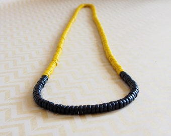 Yellow and black wooden colour block rondelle bead necklace