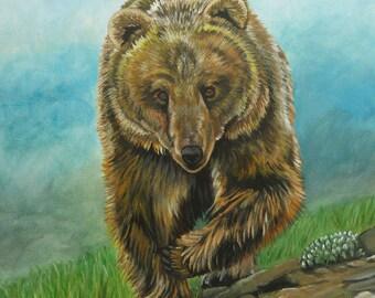 grizzly bear charging American wildlife big game predator Yellowstone Teton western art cowboy cowgirl ranch contemporary original painting