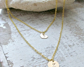 14k gold filled Personalized initial Necklace Layered Heart Initial Necklace Custom hand stamped initials heart tag Weddings Bridesmaid Gift