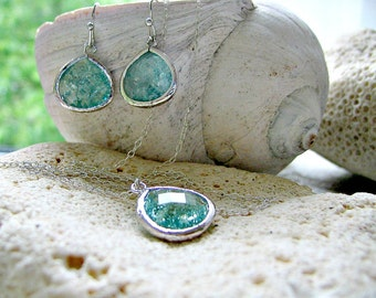 Aquamarine Necklace & Earring set Erinite jewelry aquamarine jewelry aquamarine earrings erinite earrings 925 Sterling Silver Beach Wedding