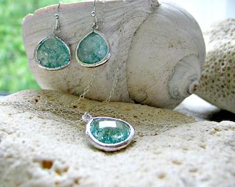 Erinite Necklace & Earring set aquamarine necklace earrings 925 Sterling Silver Aquamarine jewelry Beach Wedding Bridesmaid march birthstone