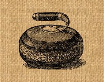 Curling Stone Rock Game Ice Vintage Printable Image Graphic Digital Antique Clip Art Transfer Art Print jpg jpeg png INSTANT Download V315
