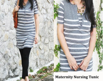 NIKKI Maternity Clothes / Nursing Top / Breastfeeding Tunic Shirt/ NEW Maternity Clothing / Grey Stripes/ Pregnancy Nursing tops Dress