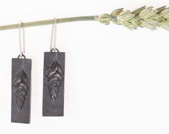 Ready to ship Sterling silver Quaking grass long earrings Handmade Oxidised Black. Inspired by nature. Meadow design Made in Latvia