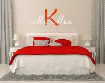 Vinyl Monogram Decals Wall Decal, Mr. and Mrs. Monogram Decal - Wedding gift