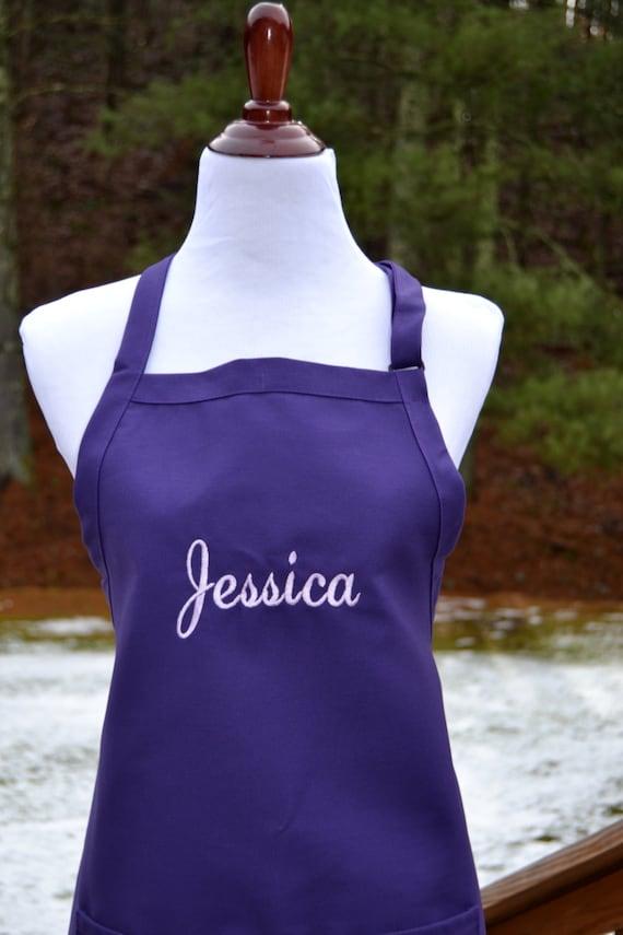 personalized aprons women custom embroidery monogram purple