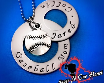 Baseball Necklace, Personalized Baseball Necklace, Baseball Mom Necklace, Team mom Necklace, Team Mom Baseball Gift, Hand Stamped, Spirit