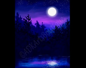 Digital Art Landscape Painting Print Moonlight