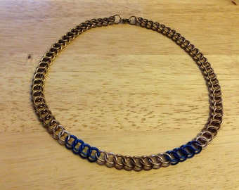 Bronze and Blue Persian 3 in 1 Chainmaille Necklace