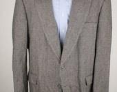 Vtg TWEED Towncraft Grey Herringbone Wool Blend 48 L Sport Coat Blazer