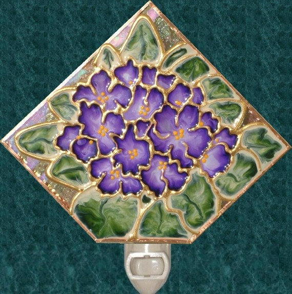 African Violet Night Light Stained Glass Lavender Flower