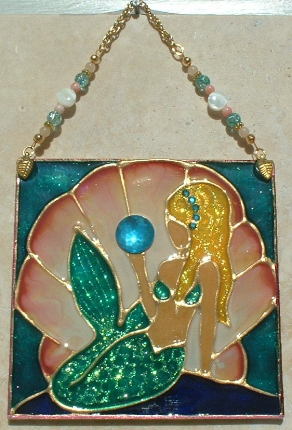 mermaid stained glass panel or suncatcher