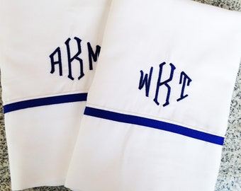 Monogram King Sheet Set with Ribbon Trim / Monogram Bedding / King Sheets
