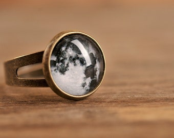 Little full moon ring, adjustable ring, statement ring, antique brass ring, glass dome ring, antique bronze ring, jewelry gift, some magic
