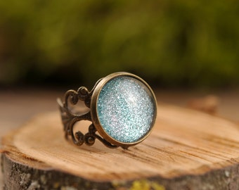 Filigree stardust ring, adjustable ring, statement ring, antique brass ring, glass dome ring, antique bronze ring, jewelry gift for her