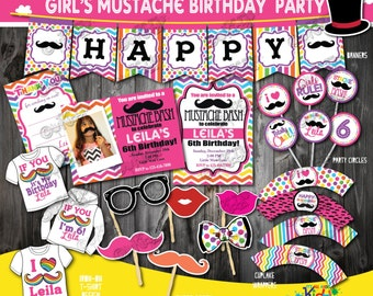 Girl Mustache Party Package,  Mustache Birthday Party, mustache First Birthday,1st Birthday invitation,Mustache party, Girls rainbow party