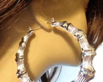 VINTAGE Earrings BAMBOO HOOP earrings 3.5 inch Silver Tone Bamboo Hoop Retro Hoop Earrings