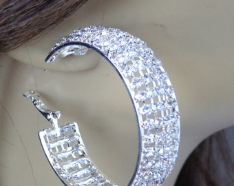 Rhinestone Pave Crystal Hoop Earrings Silver tone 1.75 inch Diameter 0.60 inch thick
