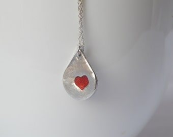 Heart Necklace PMC Fine Silver - Precious Metal Clay - PMC Fine Silver Jewelry - Gifts For Women - Heart Pendant - Sterling Silver Necklace