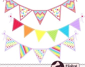 Rainbow Bunting Clip Art, Banner Clipart, Graphics, Cardmaking