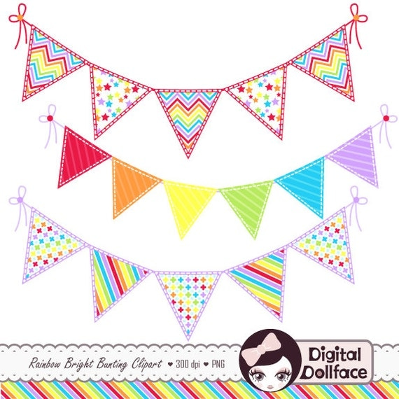 Rainbow Bunting Clip Art Banner Clipart Graphics Cardmaking