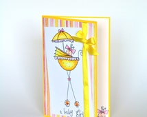 Baby Announcment Card, Baby girl, hand stamped card, yellow, Baby Buggy