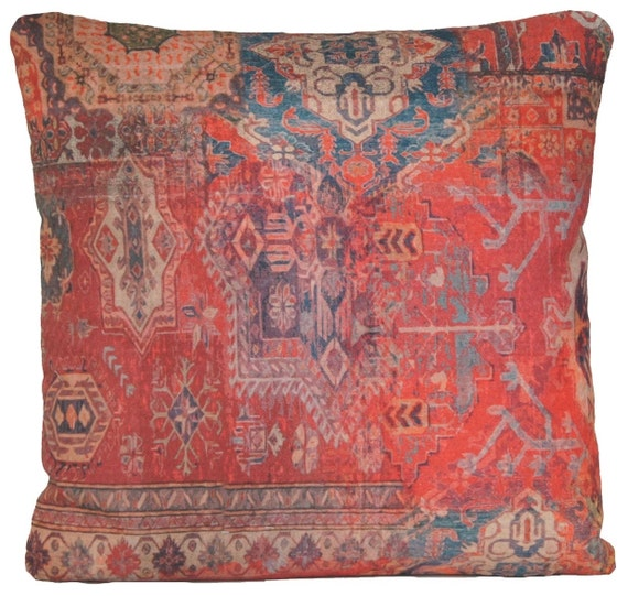 Red Cushion Cover Ethnic Rug Square Throw Pillow Case Design