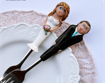 Personalized Wedding Cake Topper and Forks Bride and Groom Polymer clay Unique Wedding Cake Decoration