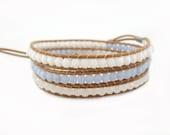 SALE!!! Boho Bracelet, Baby Blue and White Wrap Bracelet, Daisy Bracelet, Bohemian Bracelet