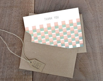 Rustic overlapping square thank you cards - Geometric Pastel thank you card set - Mint yellow peach note cards