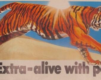 Original Vintage Enco Tiger Banner Poster