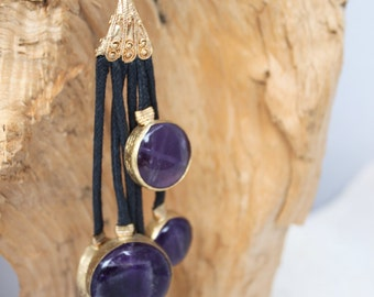 AMETHYST coin TASSEL necklace ,Leather cord,GORGEOUS!