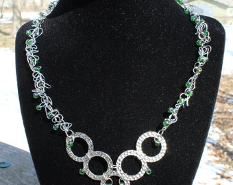 Round Rings with Green Beads Necklace