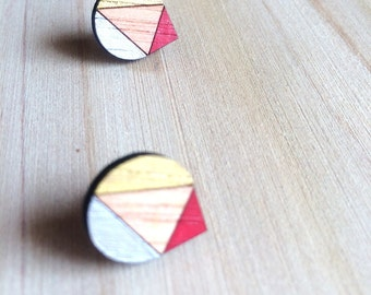 Hand Painted Laser Cut Wood Geometric Droplet Pattern Stud Earrings- Red, Gold and Silver