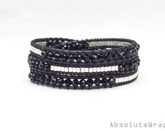 Black crystal wrap bracelet with silver plated beads on polyester cord, triple wrap bracelet