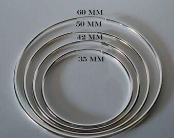 Sterling Silver Endless Hoop Earrings/Thin Continuous Tube Hoops/Large Sterling Silver Hoops/Gypsy Hoops/Thin Large Hoops/Big Sterling Hoops
