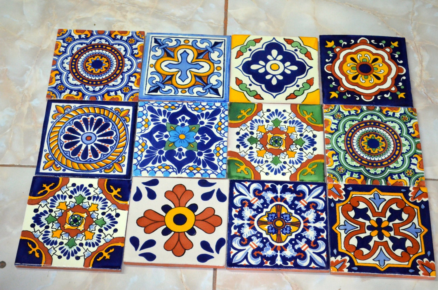 12 mexican talavera tiles with mix design hand made hand for Azulejo de talavera mexico