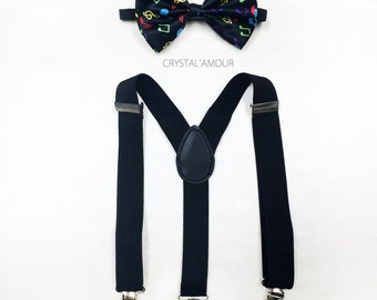 stylish kids bow tie and suspenders - colored music notes, toddler bowtie and suspenders set - for baby einstein, musical notes bow tie